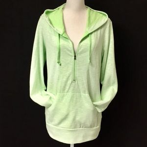LUCY key lime green half zip hoodie. Size L. EUC